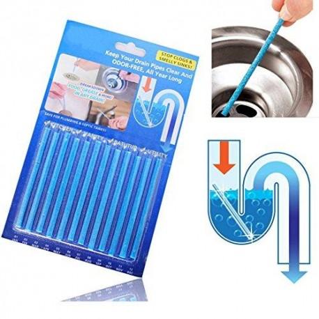 SET DE 12 BATONNETS nettoyage tuyaux d'évier et désodorisant
