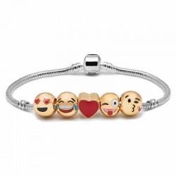 Bracelet plaqué Or 5 perles EMOTICONE